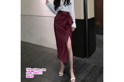 200111 Woman Elegant Ribbon OL Skirt Office Wear