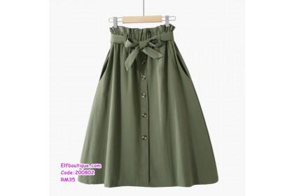 200802 Woman Korean Style Elastic Waist Ribbon Tie Skirt