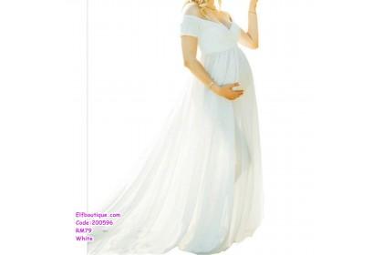 200596 Woman Elegant Short Sleeve Maternity Dinner Gown