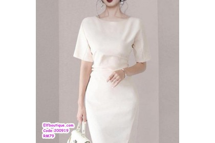 200919 Woman OL Short Sleeve Round Neck Slim Fit Wear Dress