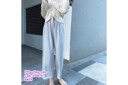 200876 Woman Elastic Waist Long Casual Wear Pants