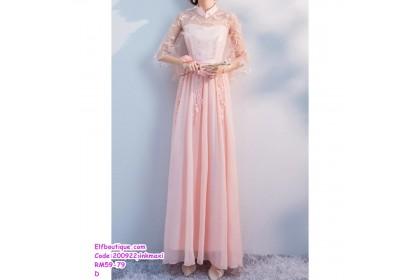 200922 Woman Off Shoulder Lacey Bridesmaid Maxi Dress Pink/Grey