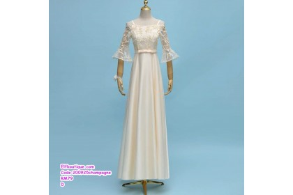 200925 Woman Short Sleeve Elegant Lacey Bridesmaid Dress Champagne