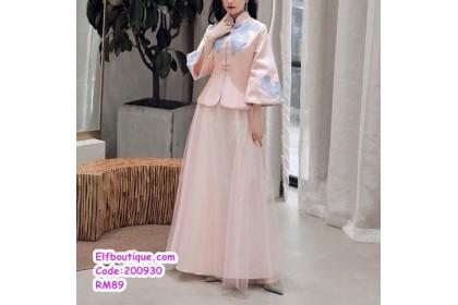 200930 Woman Elegant Wide Sleeve Collar Cheong Sam Bridesmaid Dress Bean Pink/Light Pink/Champagne/Silver Grey