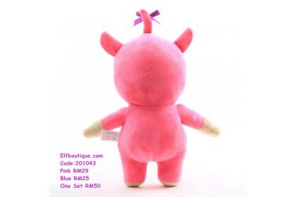 201043 Children Cartoon Billy and Bam Bam Soft Toy Pink/Blue
