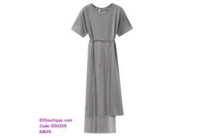 200329 Woman Round Neck Short Sleeve Slim Fit Simple Dress