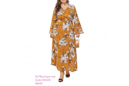 191028 Plus Size Long Sleeve Floral Prints Dress XL to 3XL White/ Wine Red /Navy /Yellow