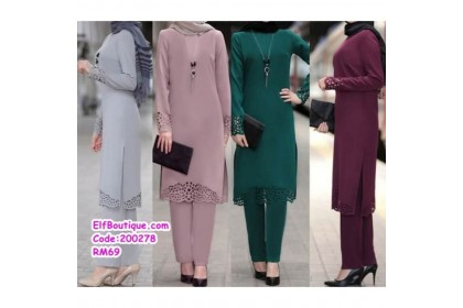 200278 READY STOCK Muslimah Set Top With Trousers Wine Red/Green/Lotus/Grey