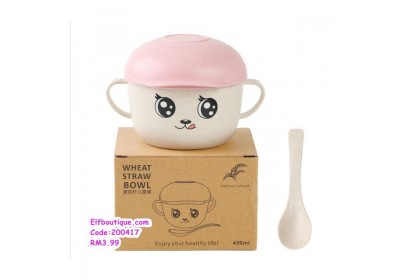 200417 READY STOCK Children Cartoon Bowl Set With Fork and Spoon Mickey Car Bowl with Cap Pink / Blue/Green/Beige