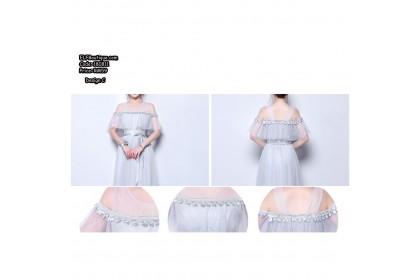 180811 Grey Bridesmaid Sister Sleeve Dinner Gown Evening Dress Premium
