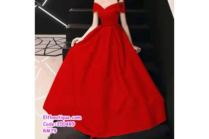 200489 Woman Sexy Elegant Off Shoulder High Waist Dinner Gown White/Yellow/Red/Black