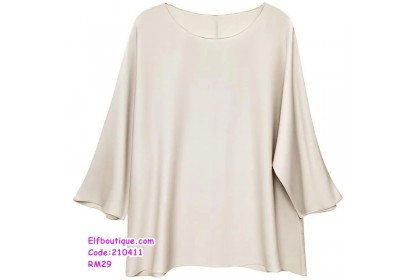 210411 Woman Round Neck Medium Long Sleeve Blouse Beige/Blue