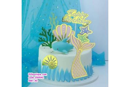 200542 READY STOCK Cartoon Sea Shark Cake Decoration Set