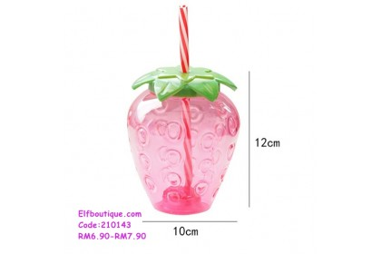 210143 READY STOCK Ins Strawberry Cute Portable Cup With Straw and Keychain