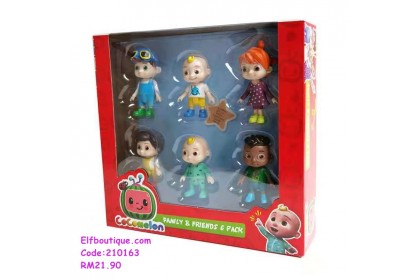 210163 READY STOCK Cocomelon Toy 6 Pcs Set With Box Cake Decoration Toy