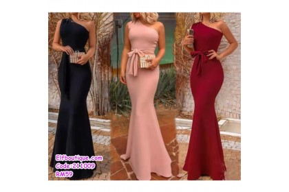211009 Euro Style Woman Off Shoulder Sleeveless Sexy Gorgeous Slim Fit Ribbon Tie Waist Fish Tail Dress