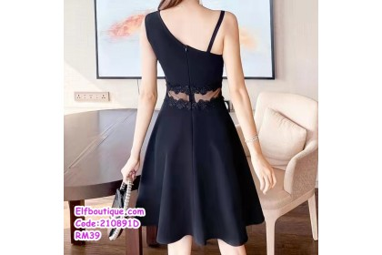 210891D Woman Sleeveless Lacey Slim Fit Waist Simple Sexy Dress White/Black